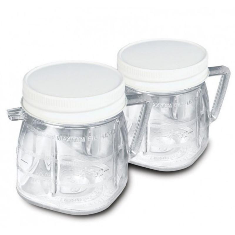 Jgo de dos minivasos de plástico con tapa Oster