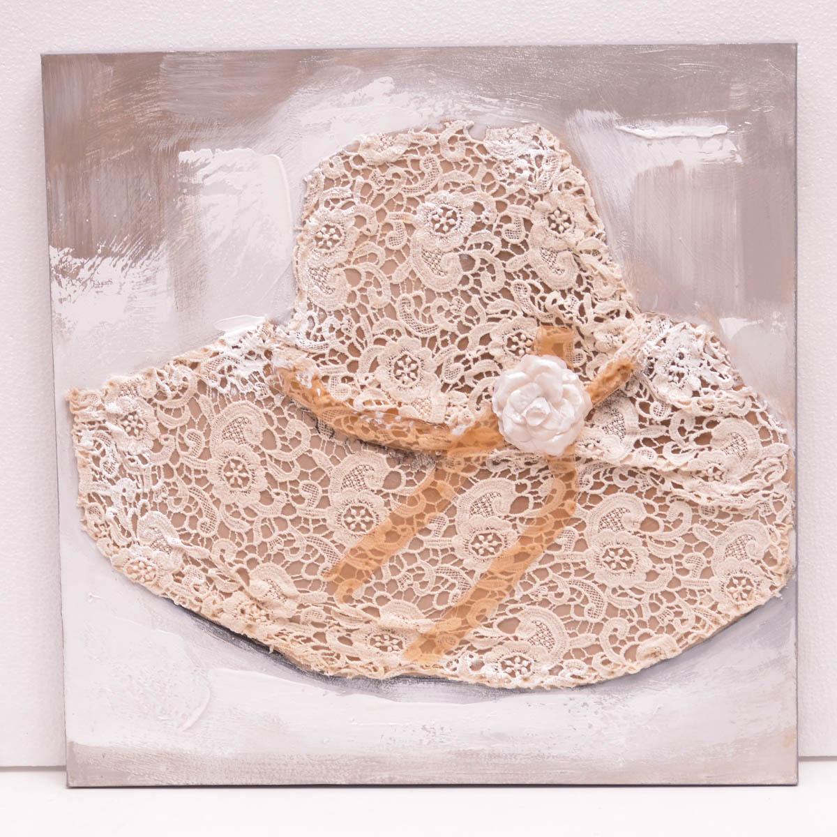 Cuadro Sombrero bordado 60X60 cm