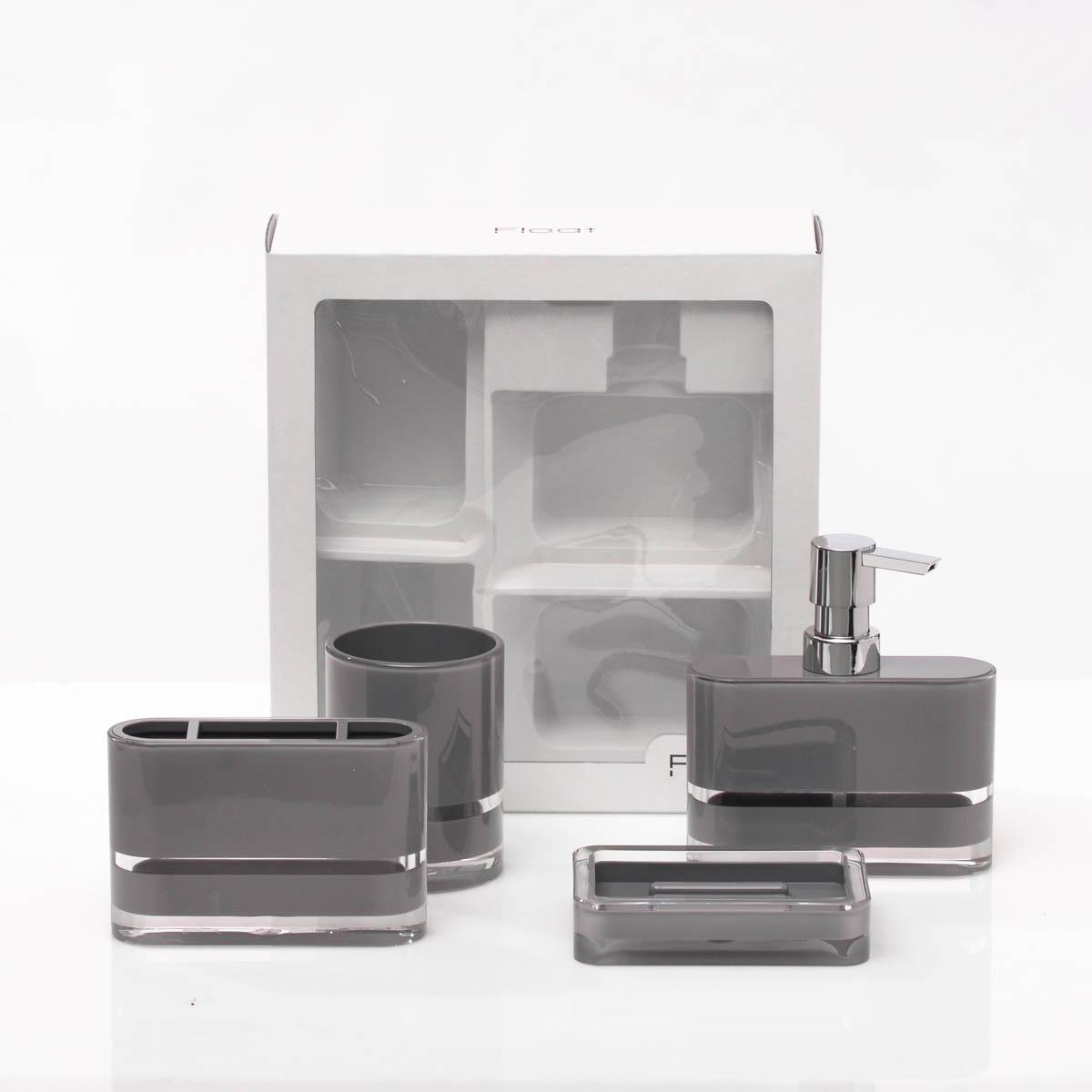 Set de Accesorios de Baño 4 Pzs Gris
