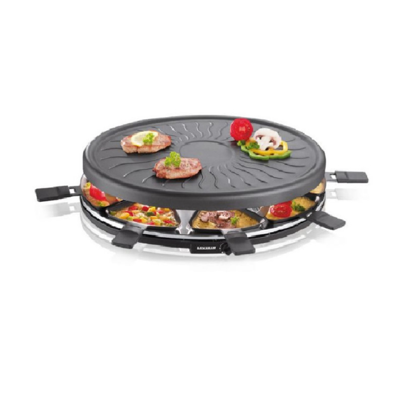 Racletera grill redonda severin con 8 mini sartenes 1100 wrg