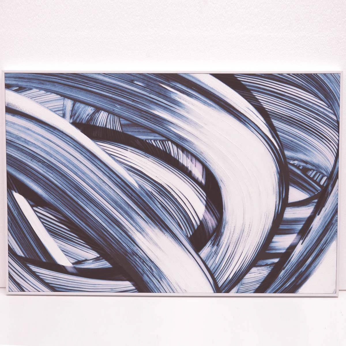 Cuadro Olas azul blanco negro 82X122 cm
