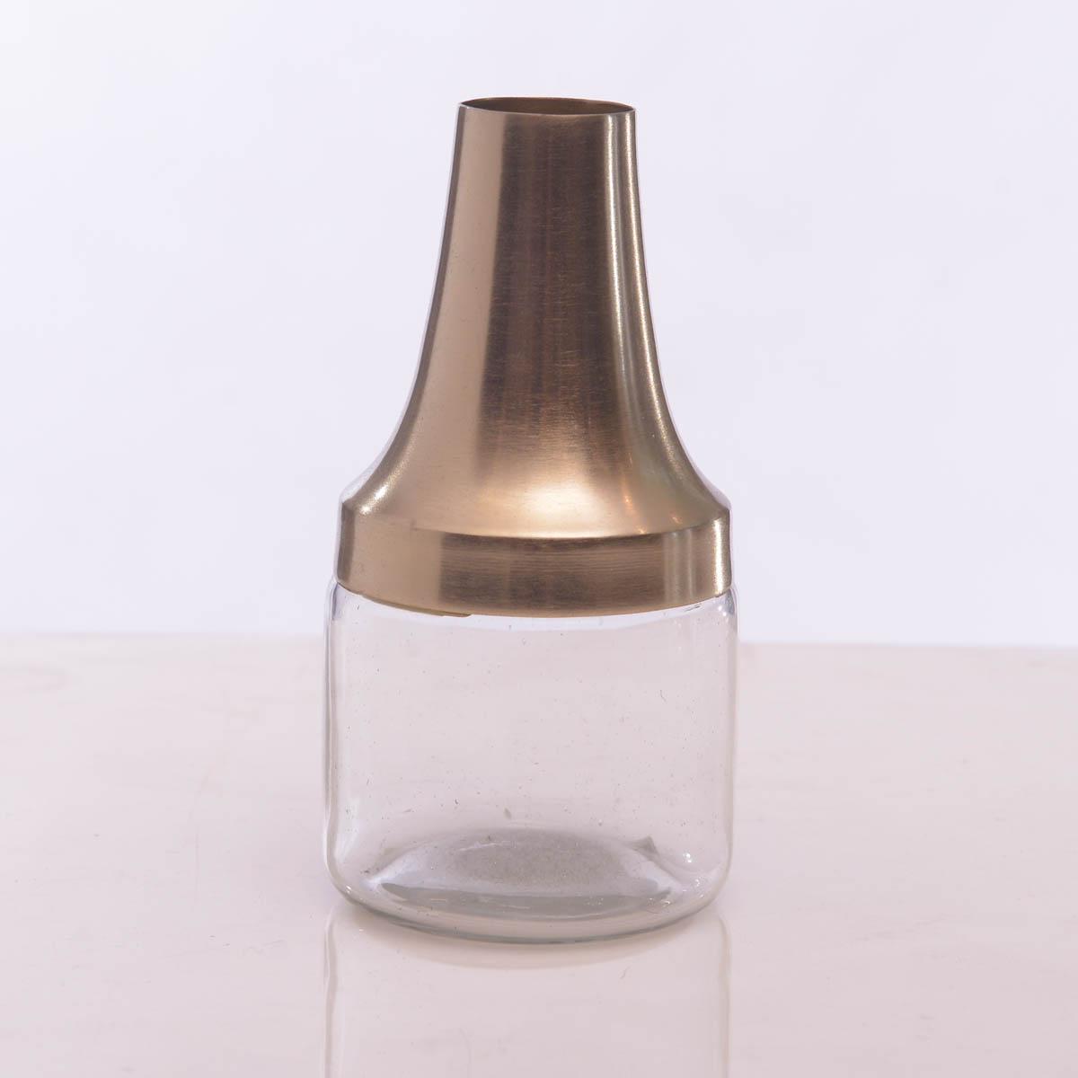 Florero metal y vidrio