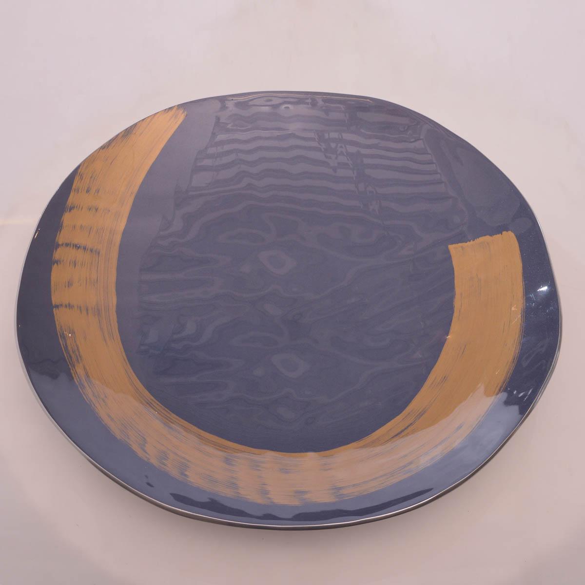Centro de mesa grande azul dorado