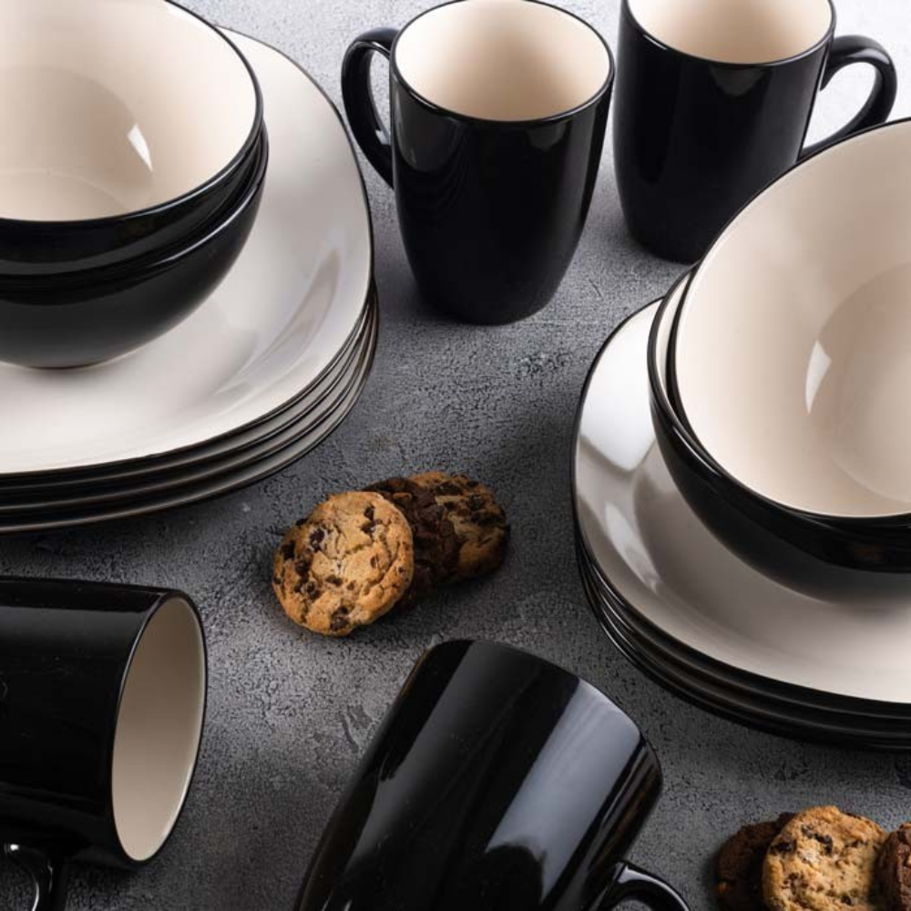 Juego de Vajilla 16 pzs Bali Latte Negra