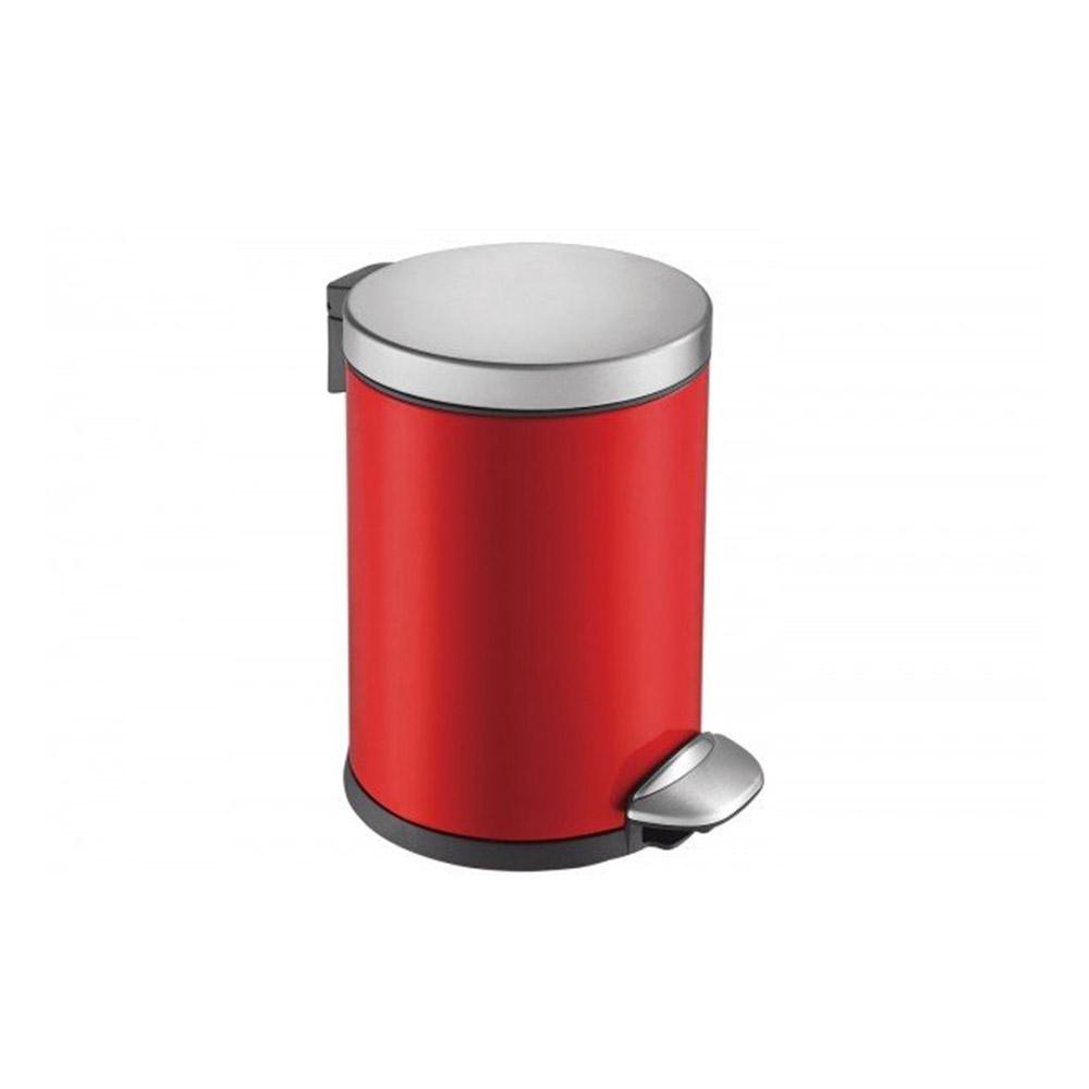Basurero redondo con pedal rojo 5l