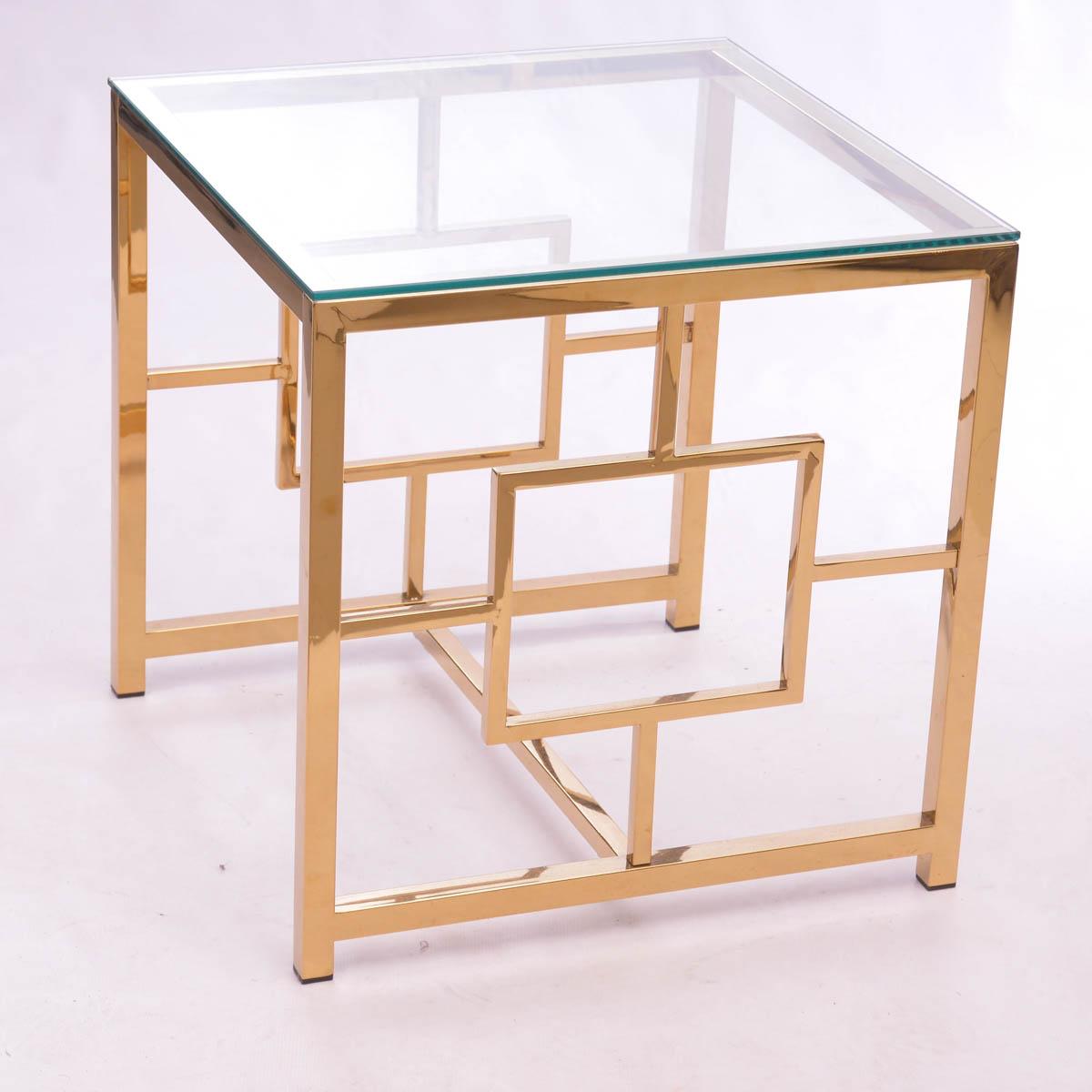 Mesa Lateral dorado/vidrio