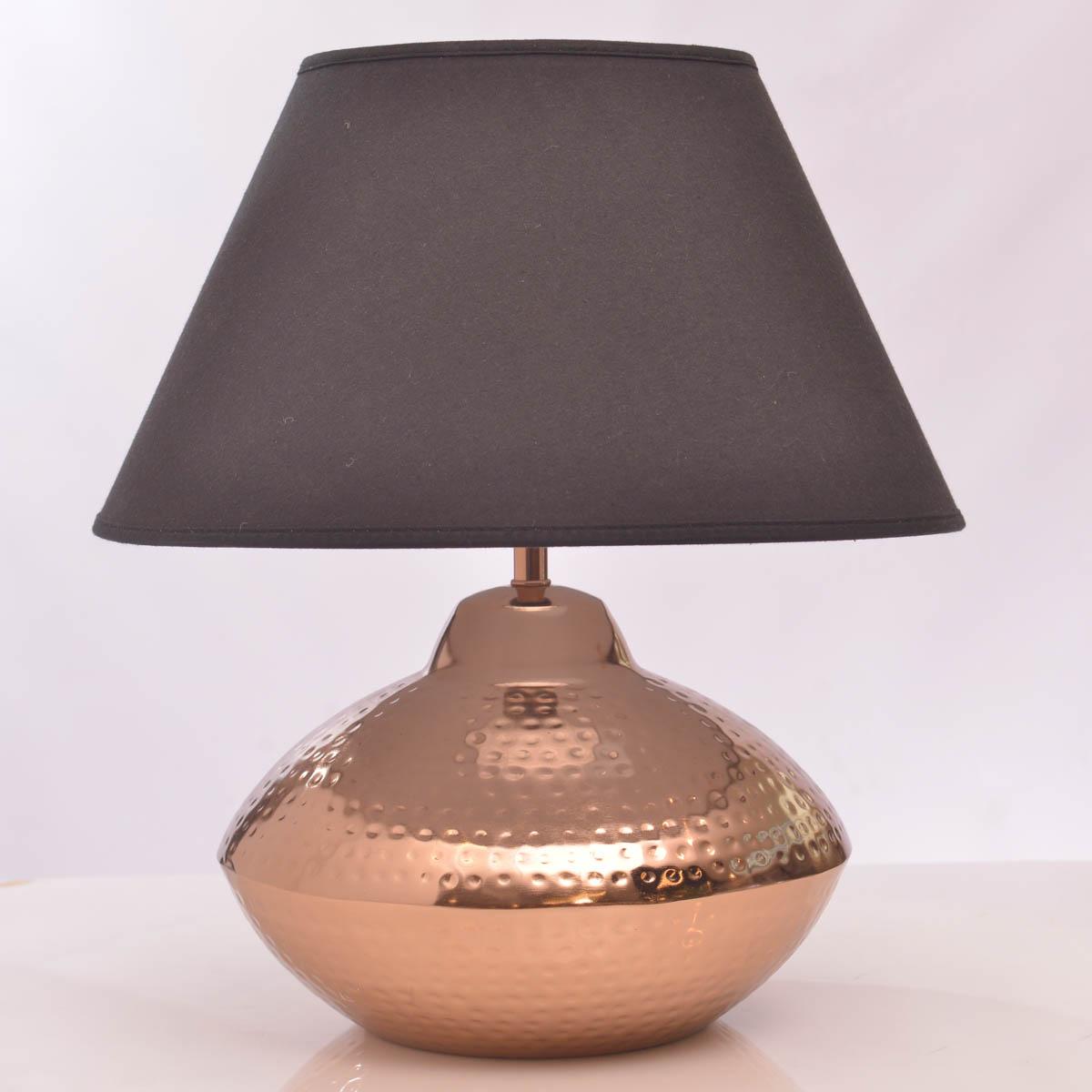 Lámpara de Mesa Metal Martillado C/Pantalla Negra