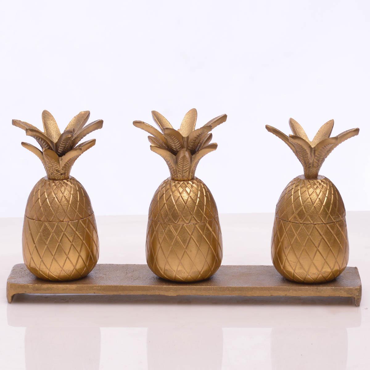 Juego de Piña Decorativa 3 Pzs C/Base dorado