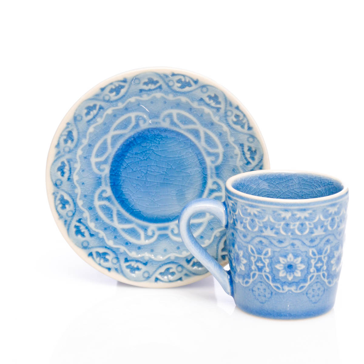 Espresso taza con plato azul