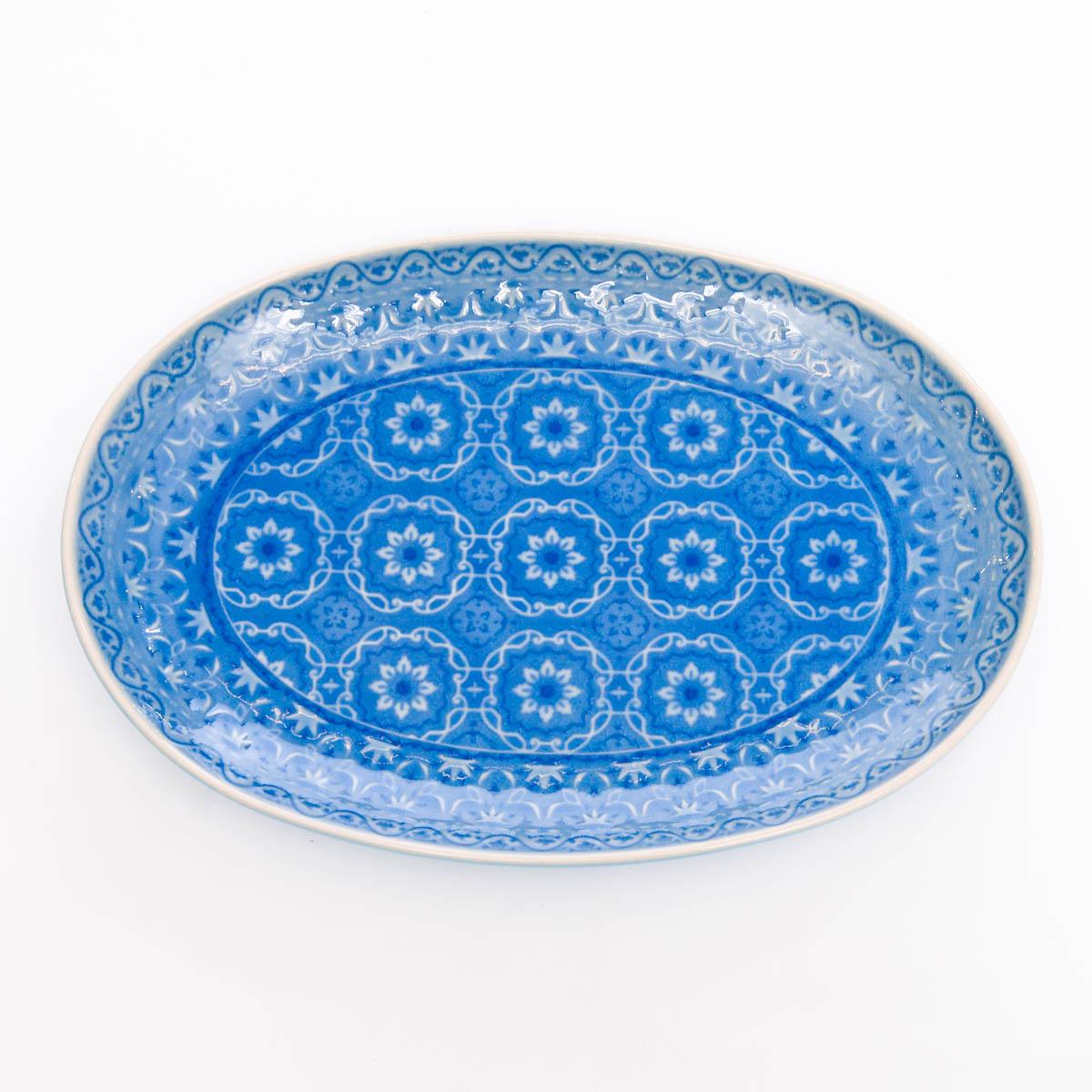 Fuente Ovalada 33X24.5 cm azul