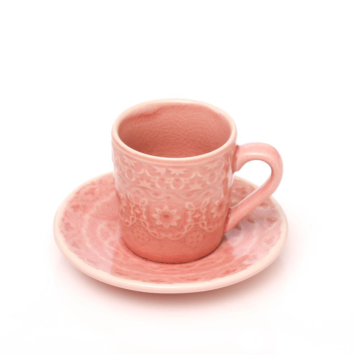Espresso Taza con plato rosa