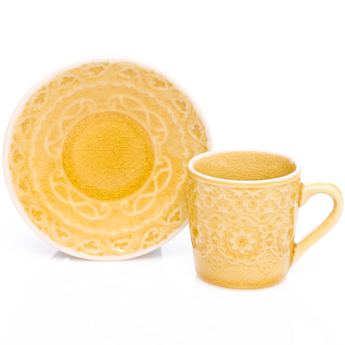 Espresso Taza con plato amarillo