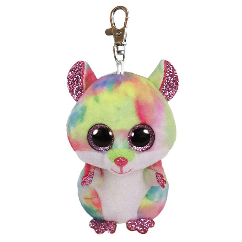 TY Beanie boos rodney hamster multicolor clip