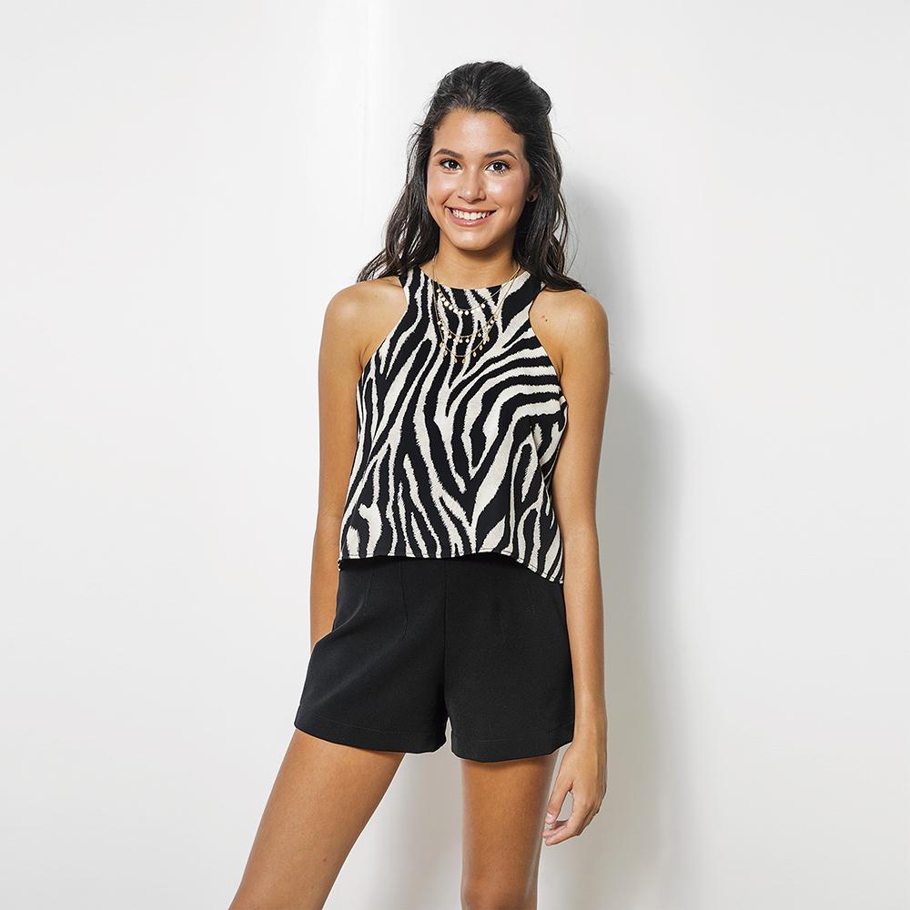 Blusa Escote Cavado Zebra 2T