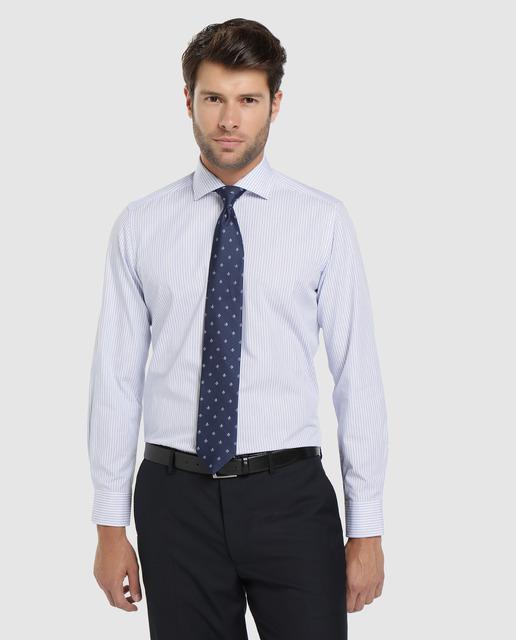 Camisa de algodón de hombre Unit rayas Slim fit