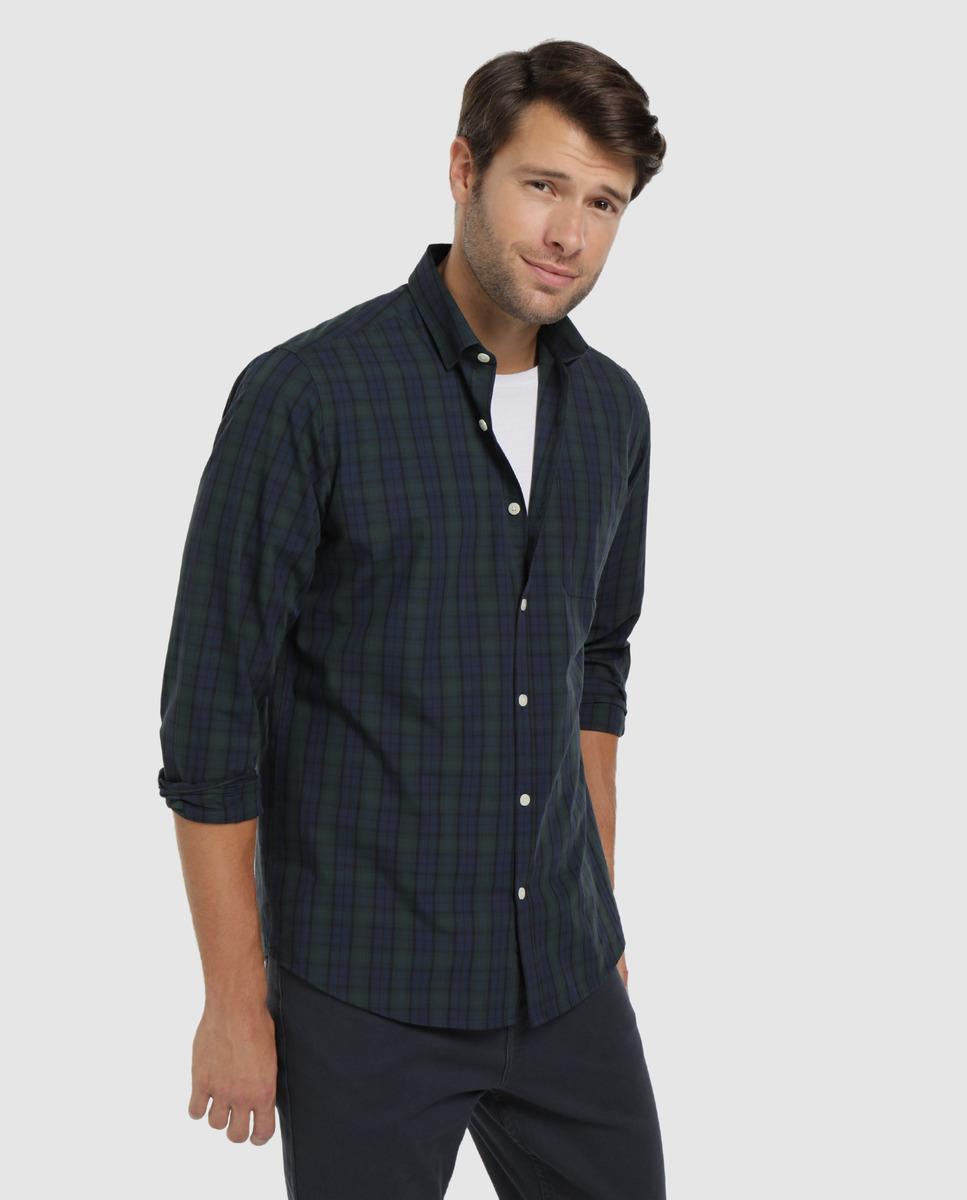 Camisa de algodón de hombre Unit cuadros tartán