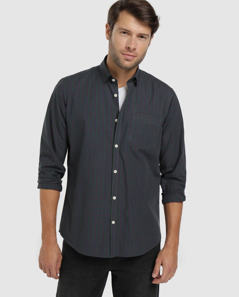 Camisa de algodón de hombre Unit cuadros