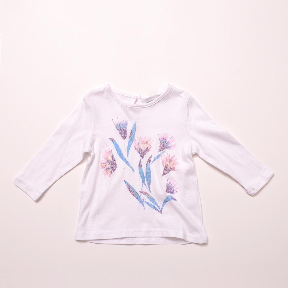 Remera Ml C/Diseño White Bebe Niña 6/24M