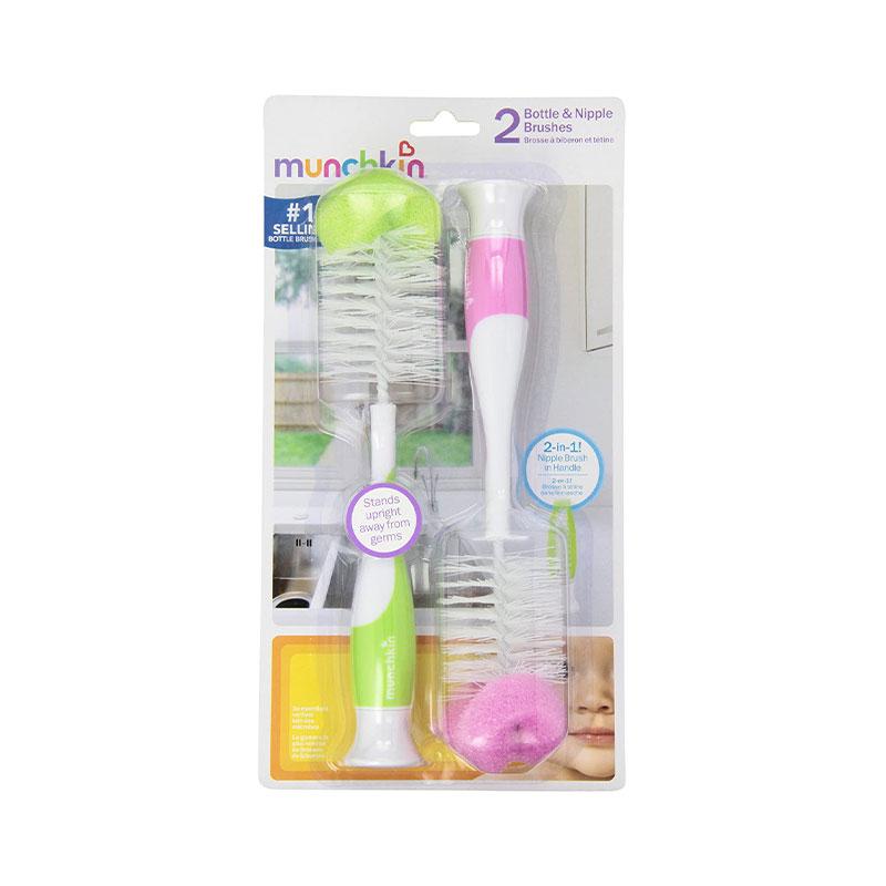 Pack de Cepillos para Mamaderas 2-en-1 c/ Esponja (x 2 unidades) - Colores surtidos