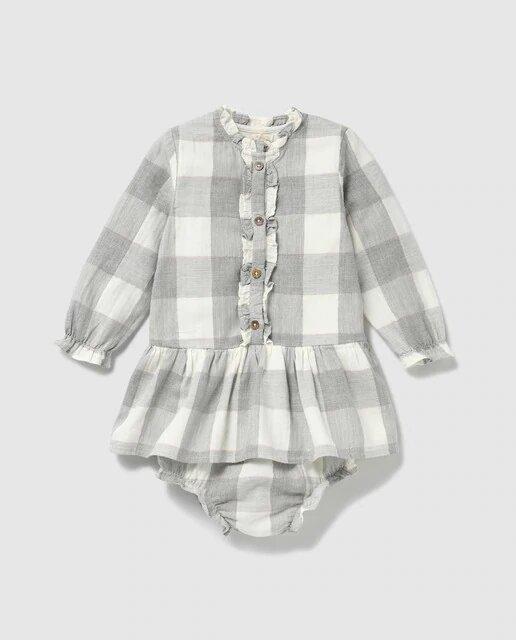 Vestido cuadros de bebé Unit lurex