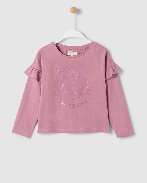 Camiseta con volante infantil Unit morada