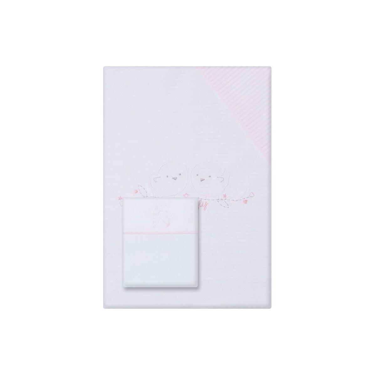Juego de Funda Nórdica + Funda de Almohada para Cuna (60 x 120 cm.) Cotton Juice Baby Home Pajaritos rosa