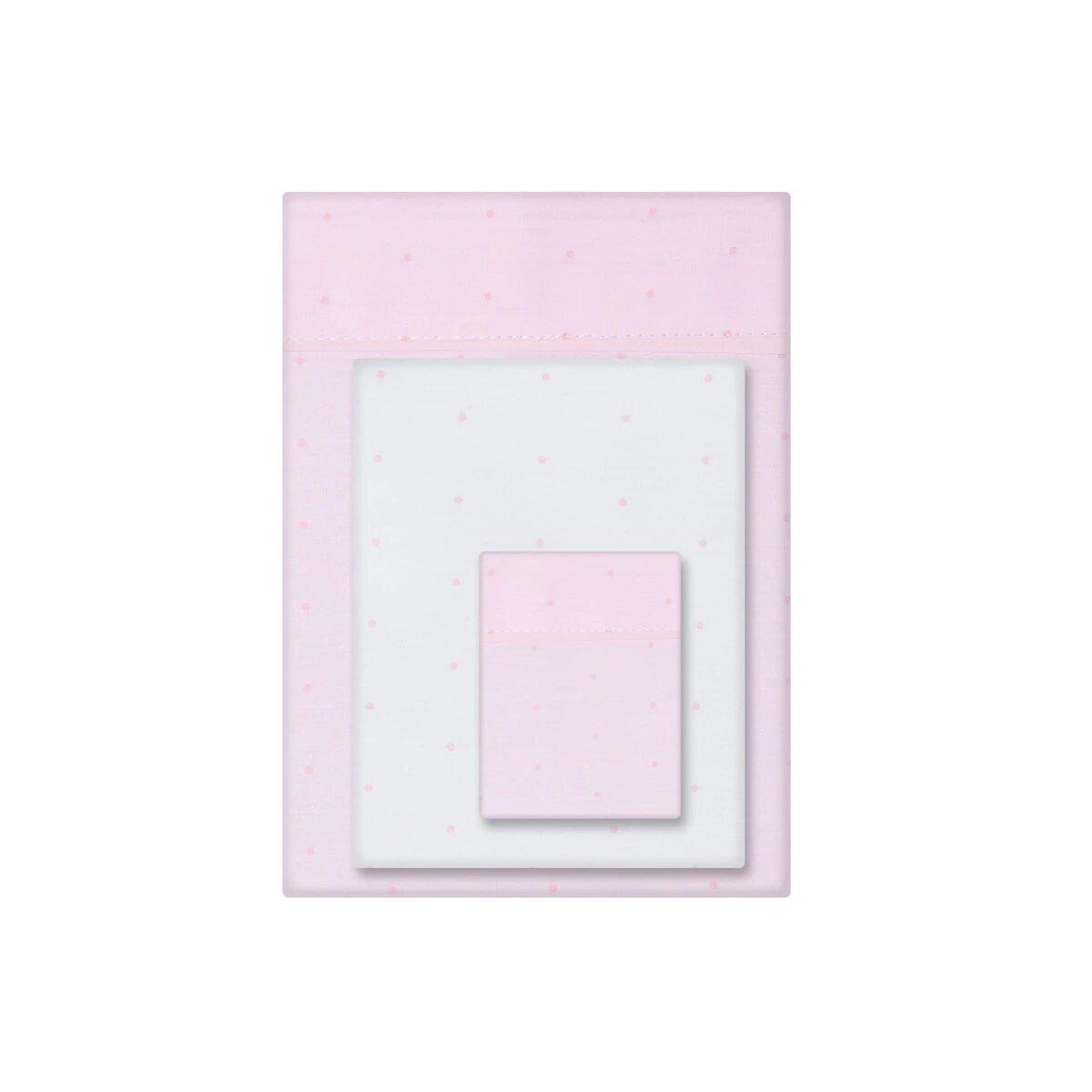 Juego de Sábanas 3 piezas para Cuna (60 x 120 cm.) Cotton Juice Baby Home con estampado rosa