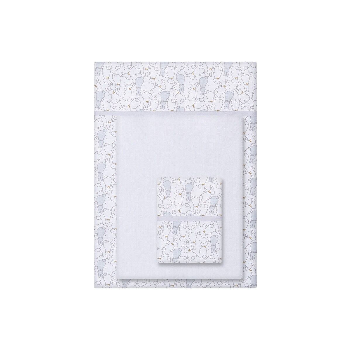 Juego de Sábanas 3 piezas para Cuna (60 x 120 cm.) Cotton Juice Baby Home con estampado gris