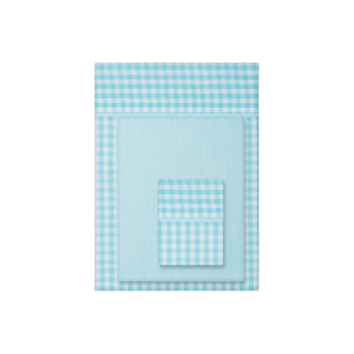 Juego de Sábanas 3 piezas para Cuna (60 x 120 cm.) Cotton Juice Baby Home con estampado turquesa