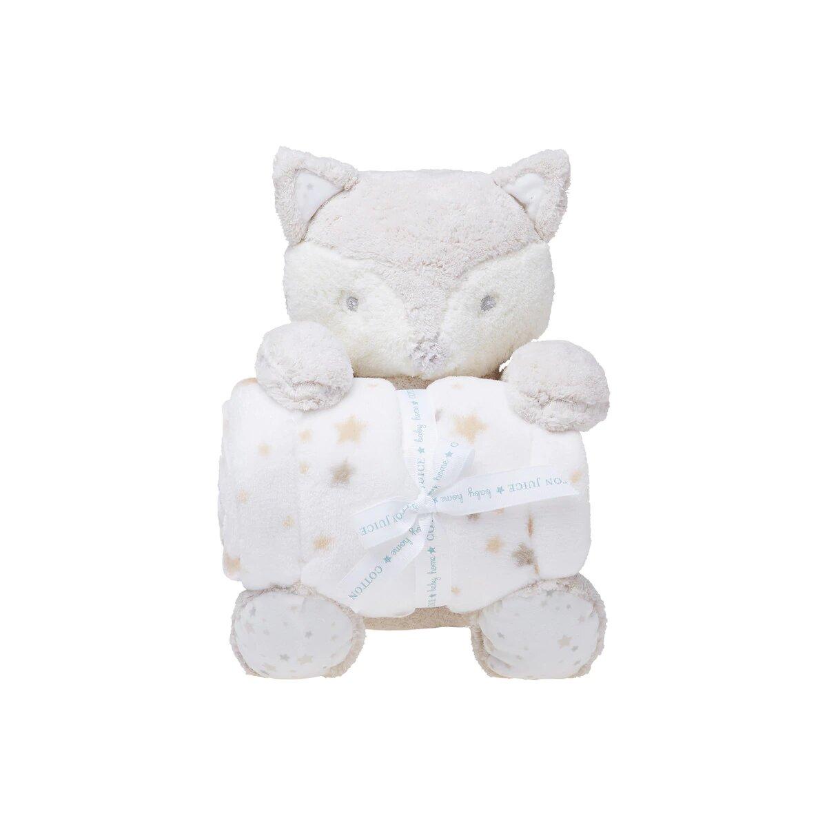Pack de Regalo Cotton Juice Baby Home Manta + Peluche Zorrito beige