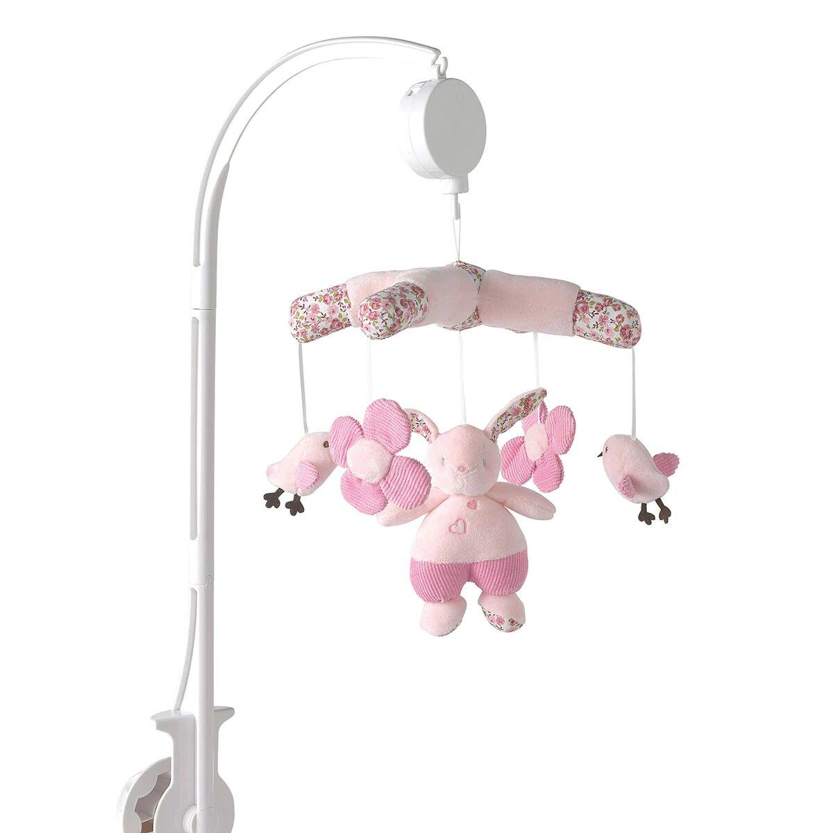 Carrusel Musical Cotton Juice Baby Home Conejo para Cuna rosa