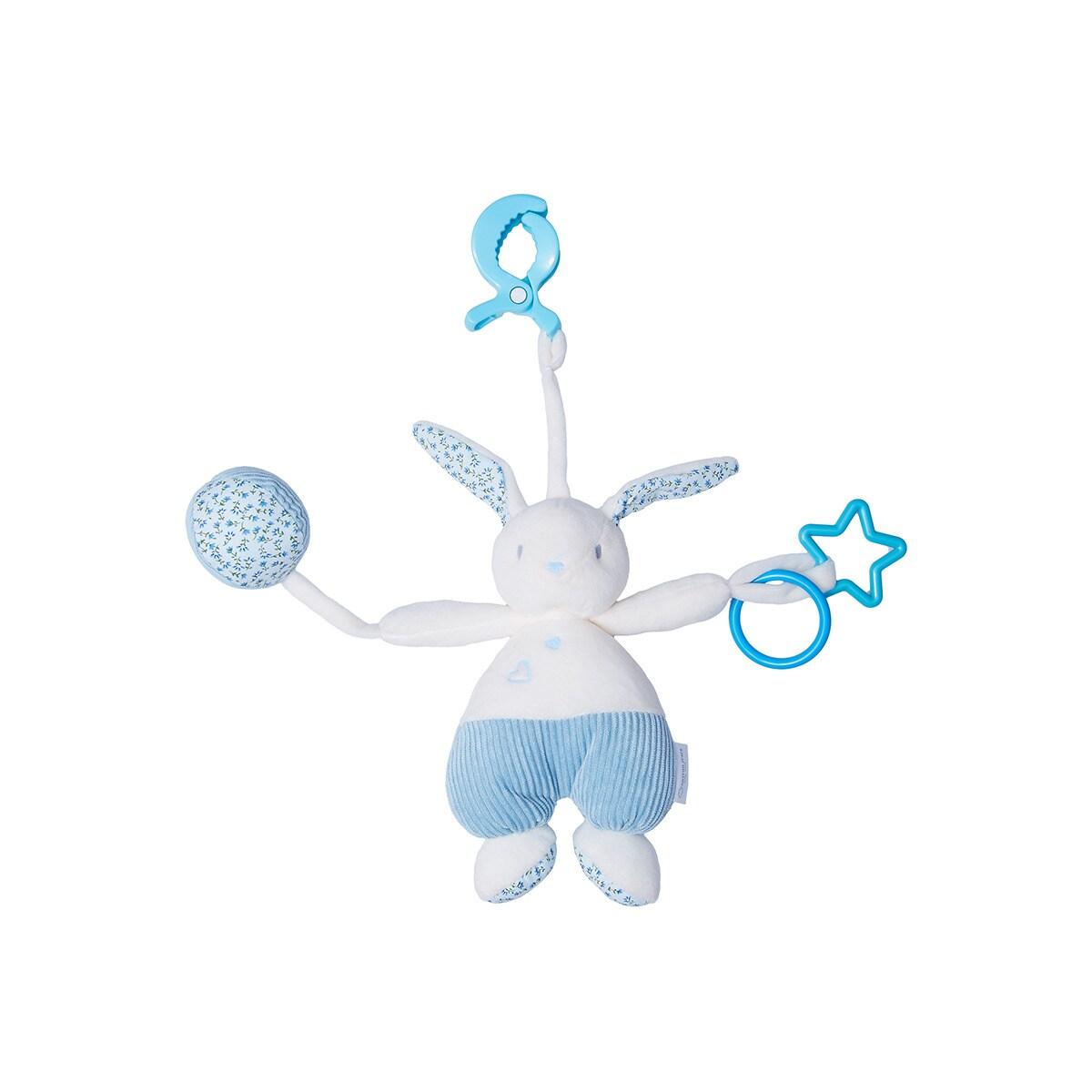 Peluche Mini Conejo Cotton Juice Baby Home con gancho azul