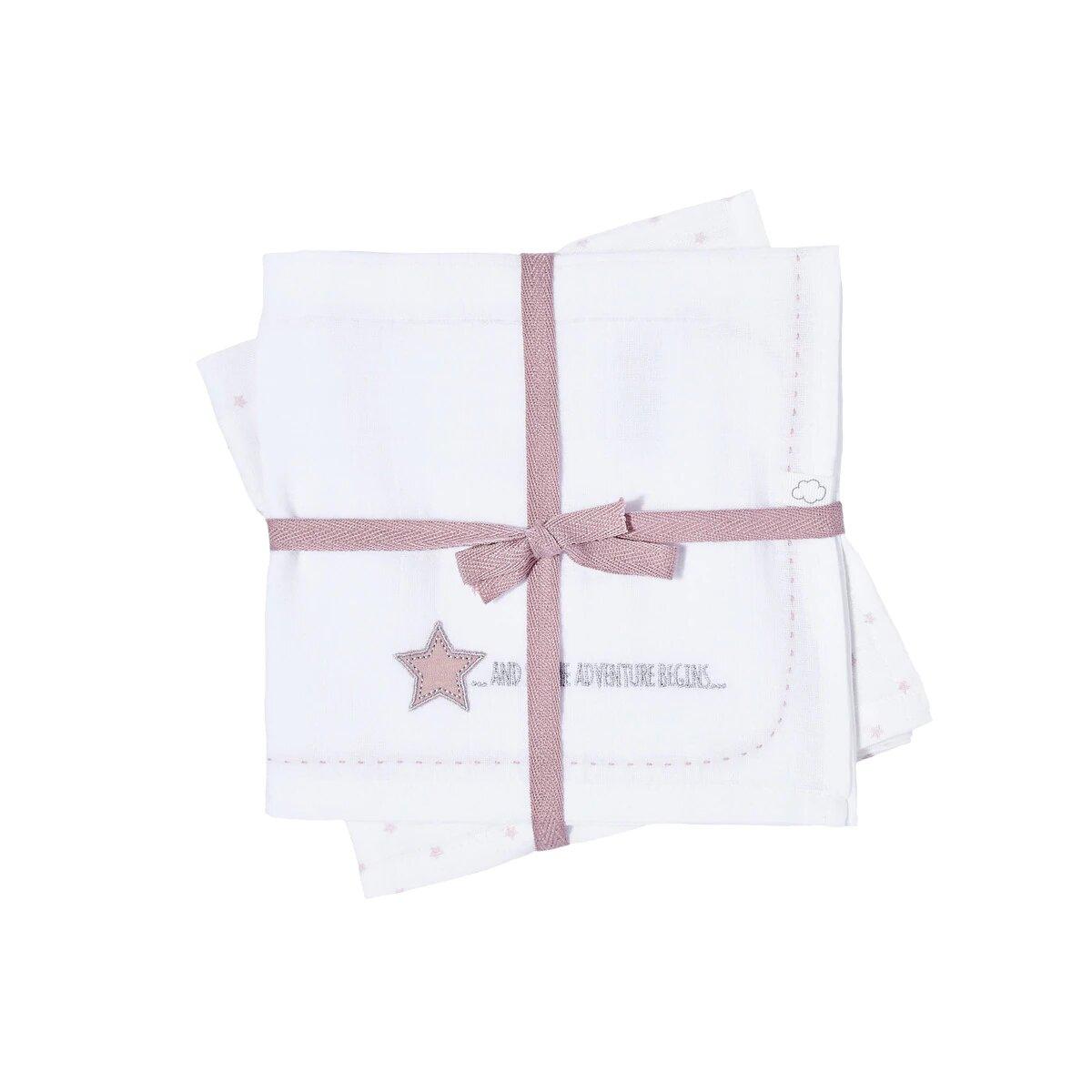Pack de 2 Muselinas Cotton Juice Baby Home Estrellas bordadas