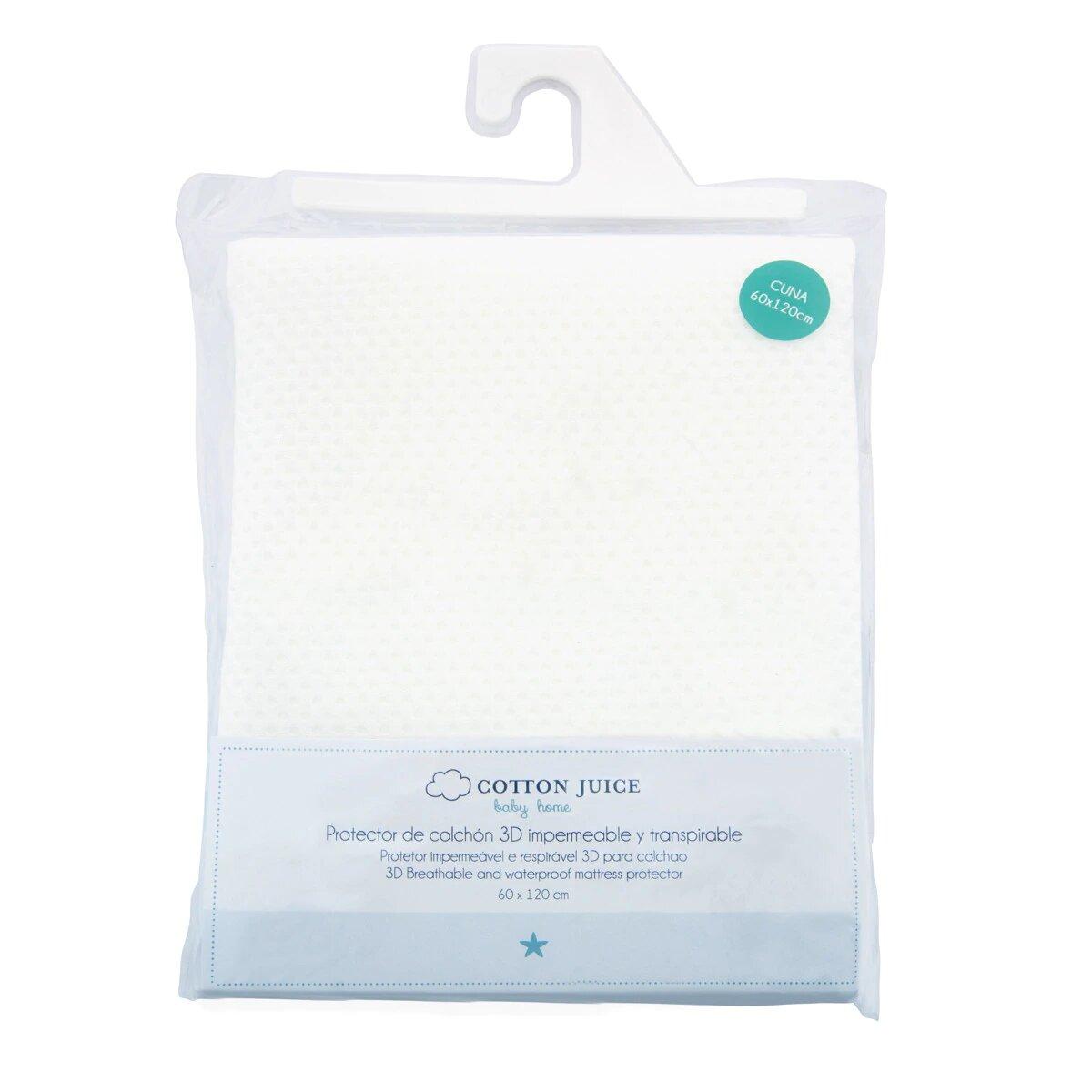 Protector para Colchón de Cuna (60 x 120 cm.) Cotton Juice Baby Home 3D blanco